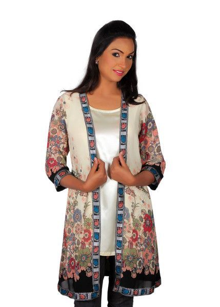 Women's White Silk Blouse with Multi-Color Chiffon Cardigan ...