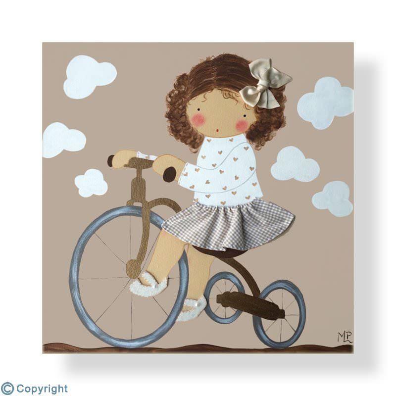Cuadro infantil personalizado: Niña en triciclo (ref. 12078-03)