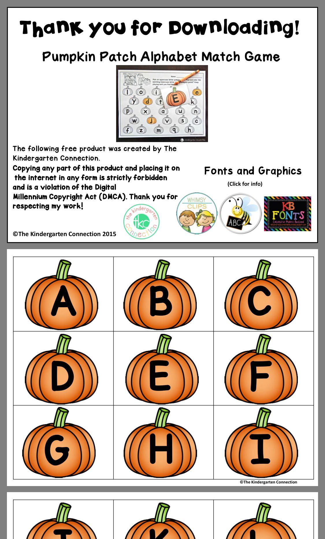 Pin By Juf Sofie On Ellie Pumpkins Kindergarten Alphabet Matching Alphabet Preschool [ 1863 x 1125 Pixel ]