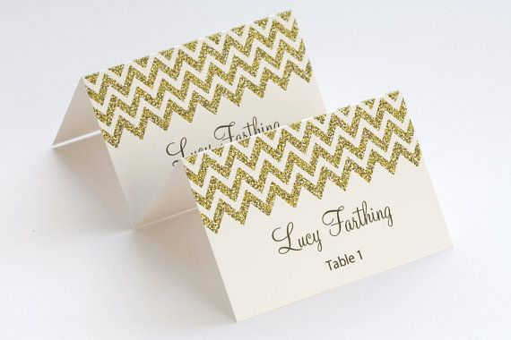 Gold Place Card Template Chevron Name Cards Diy Gold Glitter