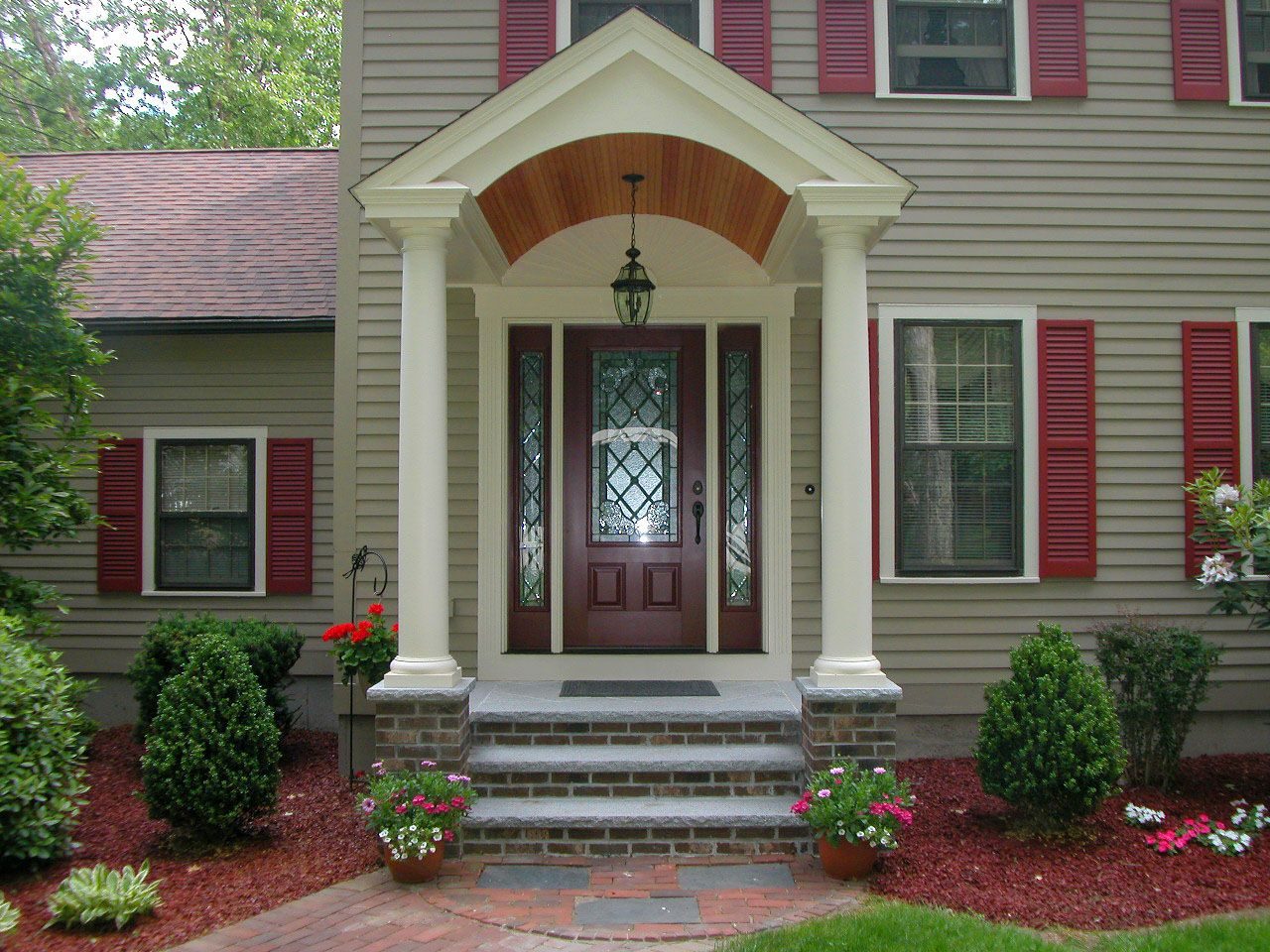 Interesting Dimgrey Small Front Porch Ideas House Design Exterior Double White Pillar Sloped Roofs Fascinating Brown
