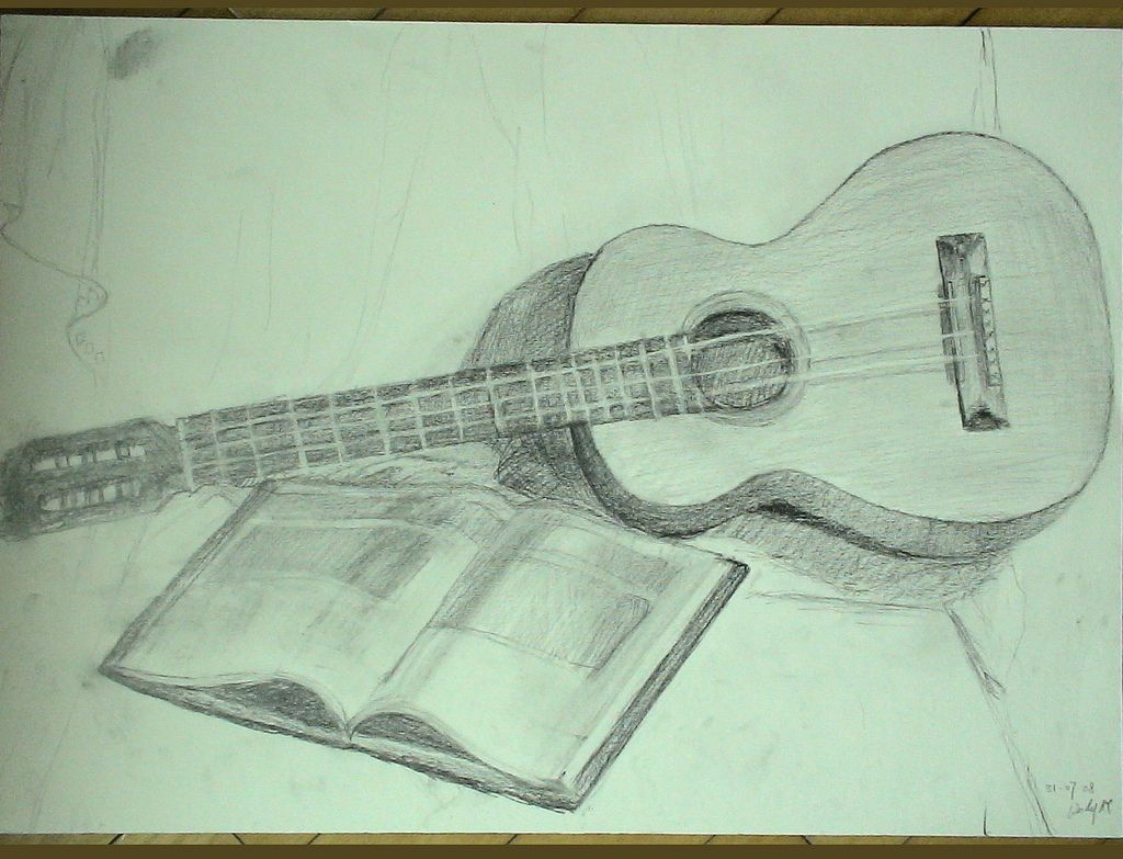 3d Pencil Sketch Guitar Wallpapers Drawing Art Library