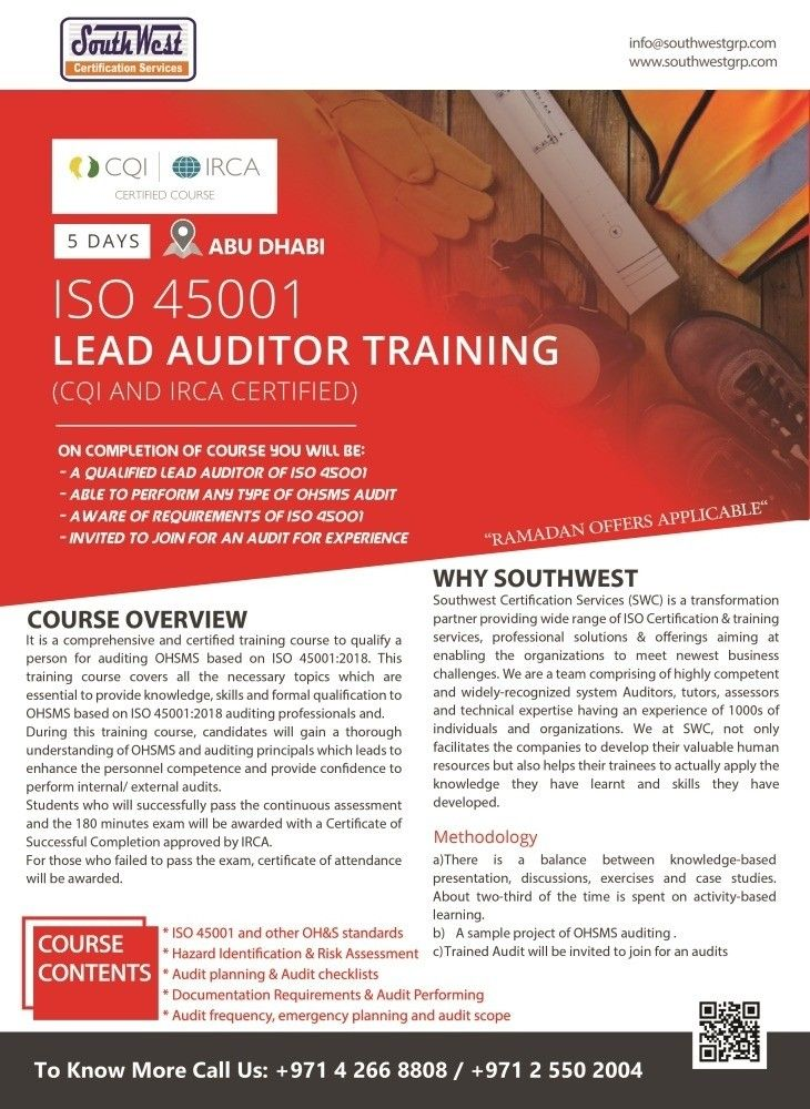 IRCA Approved ISO45001 Lead Auditor Course in Abu Dhabi