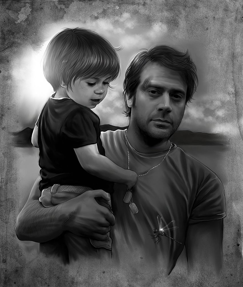Awesome John Winchester fan art! Woah woah woah. Oft that's John Winchester... Then that's... That's Sam... And if that's Sam.... THEN ITS COLIN FORD.