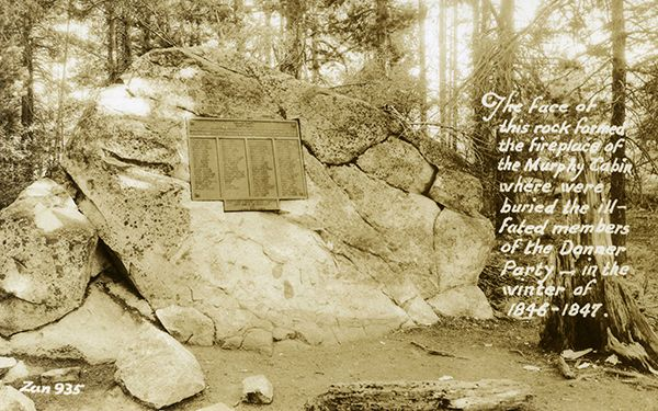 The Donner Party constructed a large cabin against this rock, using on