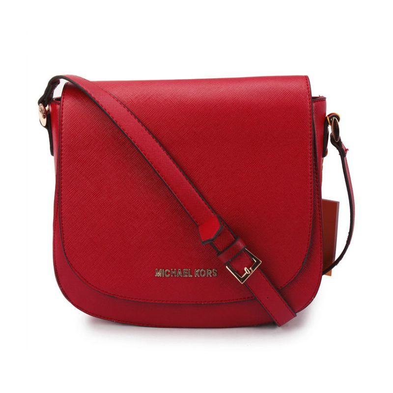Michael Kors Hayes Messenger Small Red Crossbody Bags [Michael ...