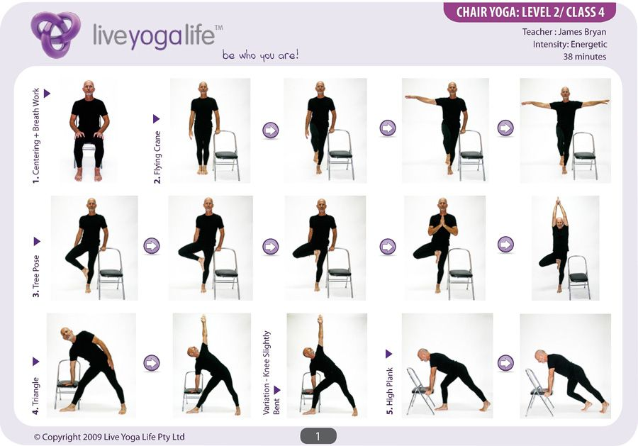 Easy yoga poses for seniors yoga with a chair level 2 for Chair yoga seniors