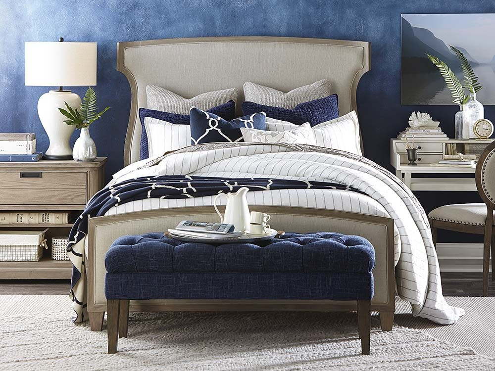 Attractive Artisanal Upholstered Bed By Bassett Furniture Was Inspired By Vintage  British Campaign Furniture And Royal French
