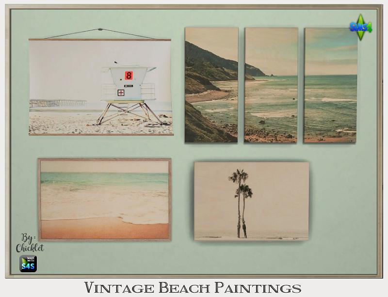 Ts4 Vintage Beach Paintings Vintage Beach Mermaid Wall Decor Beach Painting