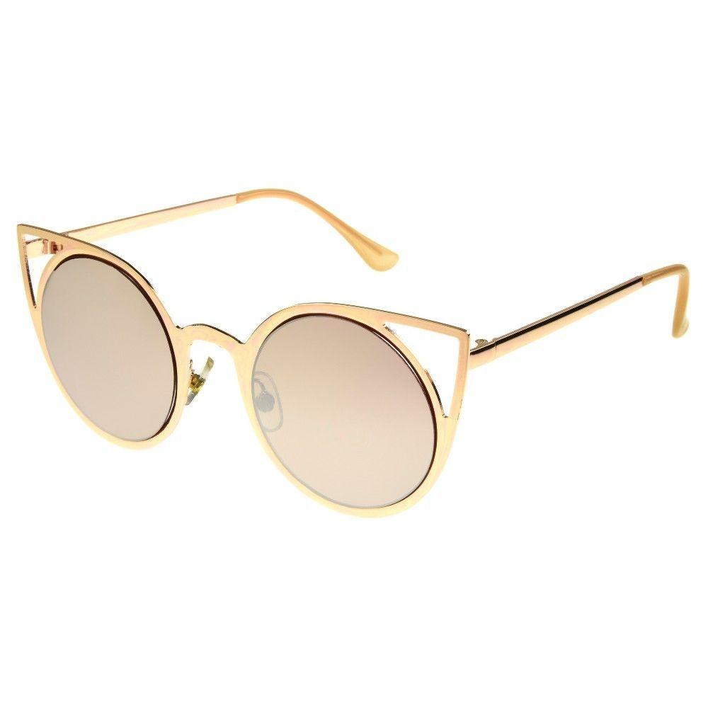 7e0b6f8ce0fe Women s Cateye Sunglasses with Silver Mirror Lenses - Rose Gold ...