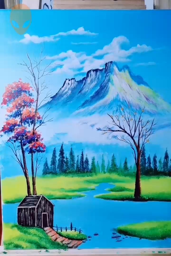 Beautiful Landscape Painting Acrylic Painting Ideas Painting Tutorial Video In 2020 Beautiful Landscape Paintings Landscape Paintings Acrylic Landscape Painting Tutorial