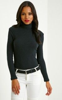 3708f86b3 Rica Black Ribbed Roll Neck Top | CLOTHES | Pinterest | Roll neck ...