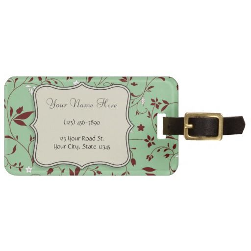 #Chocolate #Mint #Floral #Luggagetag