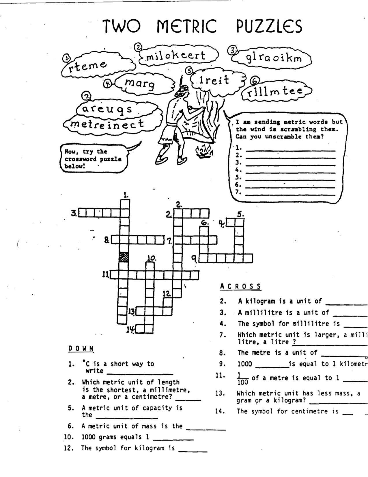 Math Gr4 Metric Puzzle Crossword Math Measurement Math Crossword Puzzle [ 1650 x 1275 Pixel ]