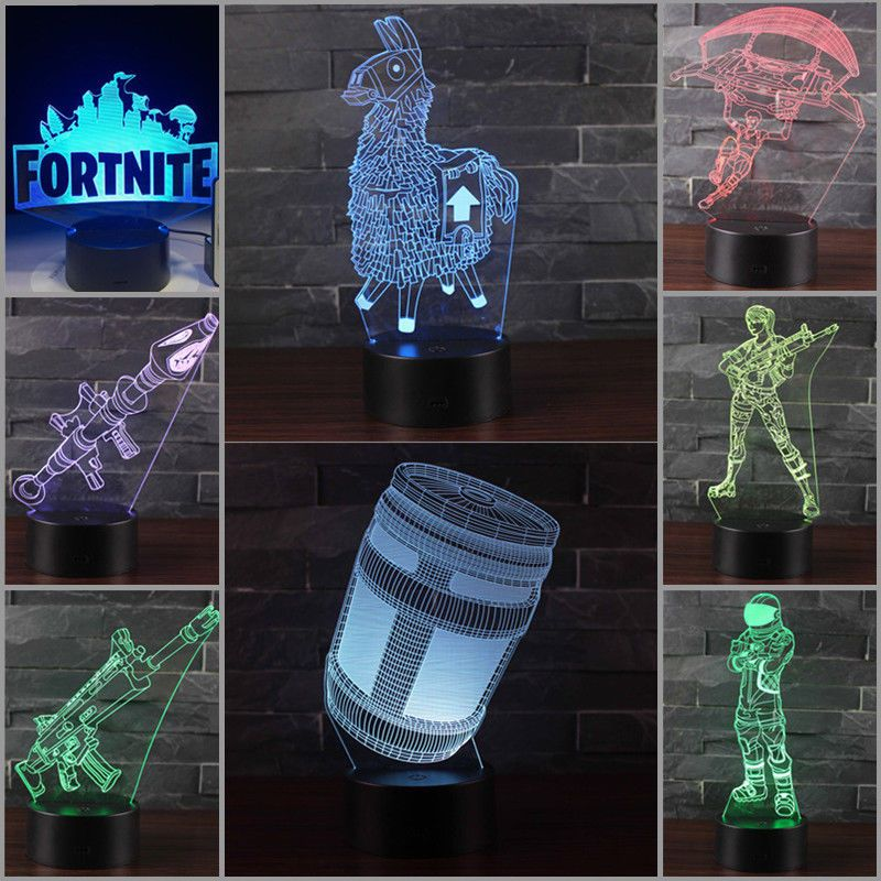 Fortnite Remote Llama Chug Jug 3d Led 16 Color Night Light Decor Table Lamp Toy 3d Illusions Fortnite Epic Games