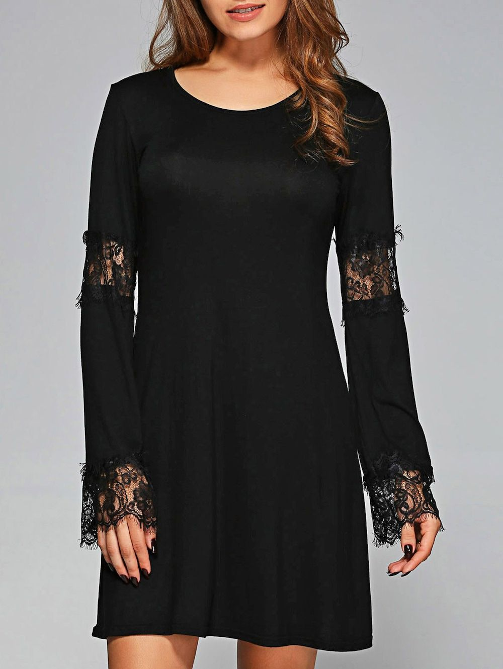 Lace cuffs openwork long sleeves dress lace cuffs sleeved dress