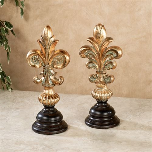 Fleur De Lis Decorative Tabletop Finials Antique Gold Set Of Two