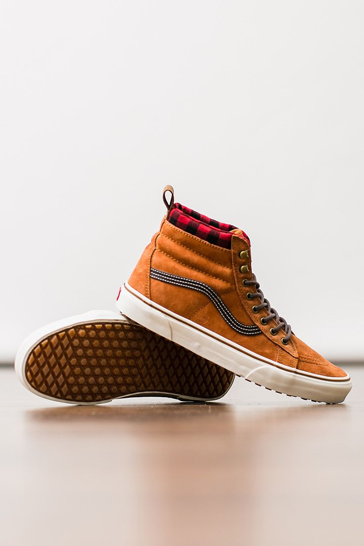 cfa77831315fc5 Shield your feet from the elements with a pair of Vans SK8-Hi MTE featuring  Scotchgard suede and wool.
