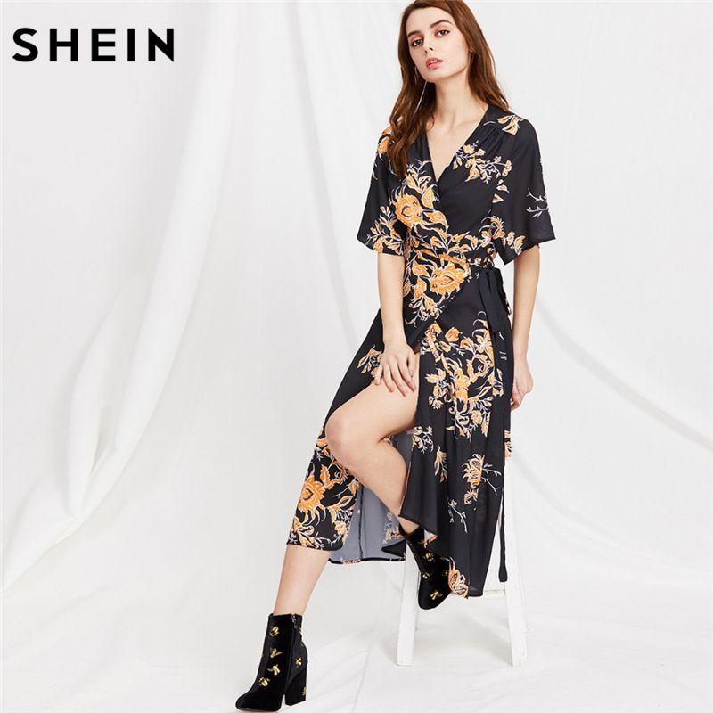 6f9c43c2c0 SHEIN Summer Womens Clothing V Neck Floral Print Wrap Boho Dresses Woman  New Fashion Half Sleeve A Line Midi Dress