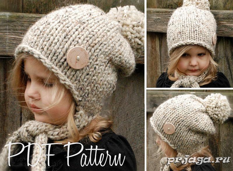 стильная шапка спицами для девушки