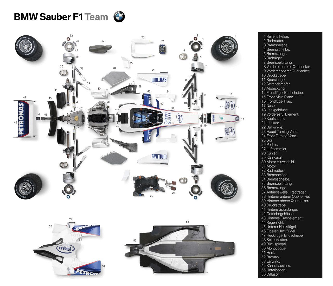 2007 bmw sauber f1  exploded view