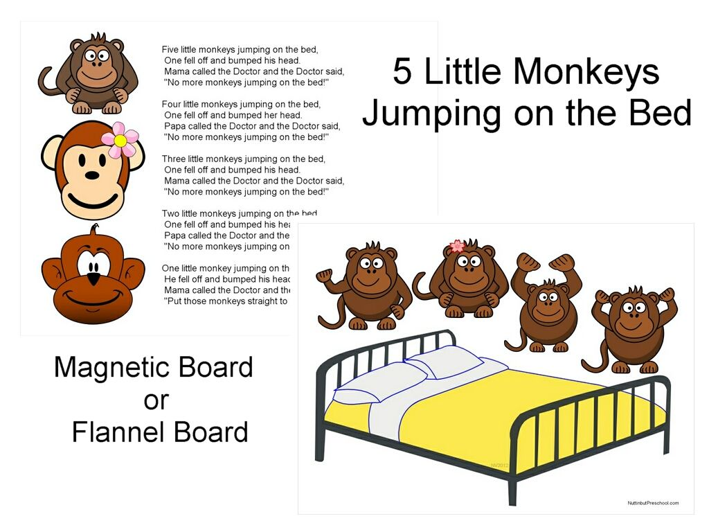 Five Little Monkeys Jumping On The Bed Flannel Board Or Magnetic Board