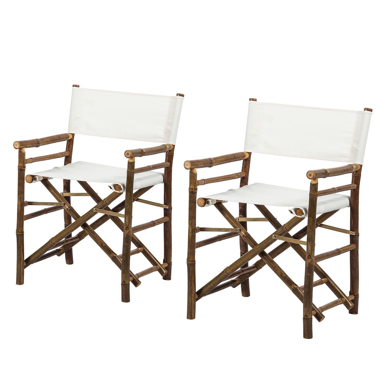 Regiestuhl Bamboo (2er-Set) - Bambus massiv / Textil - Weiß, ars ...