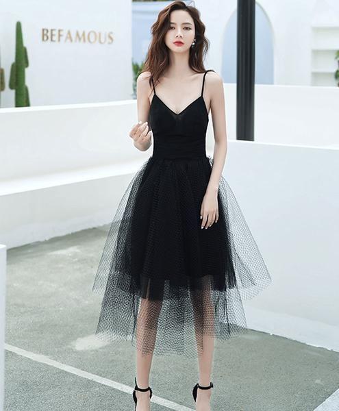 Black v neck tulle short prom dress black short evening dress