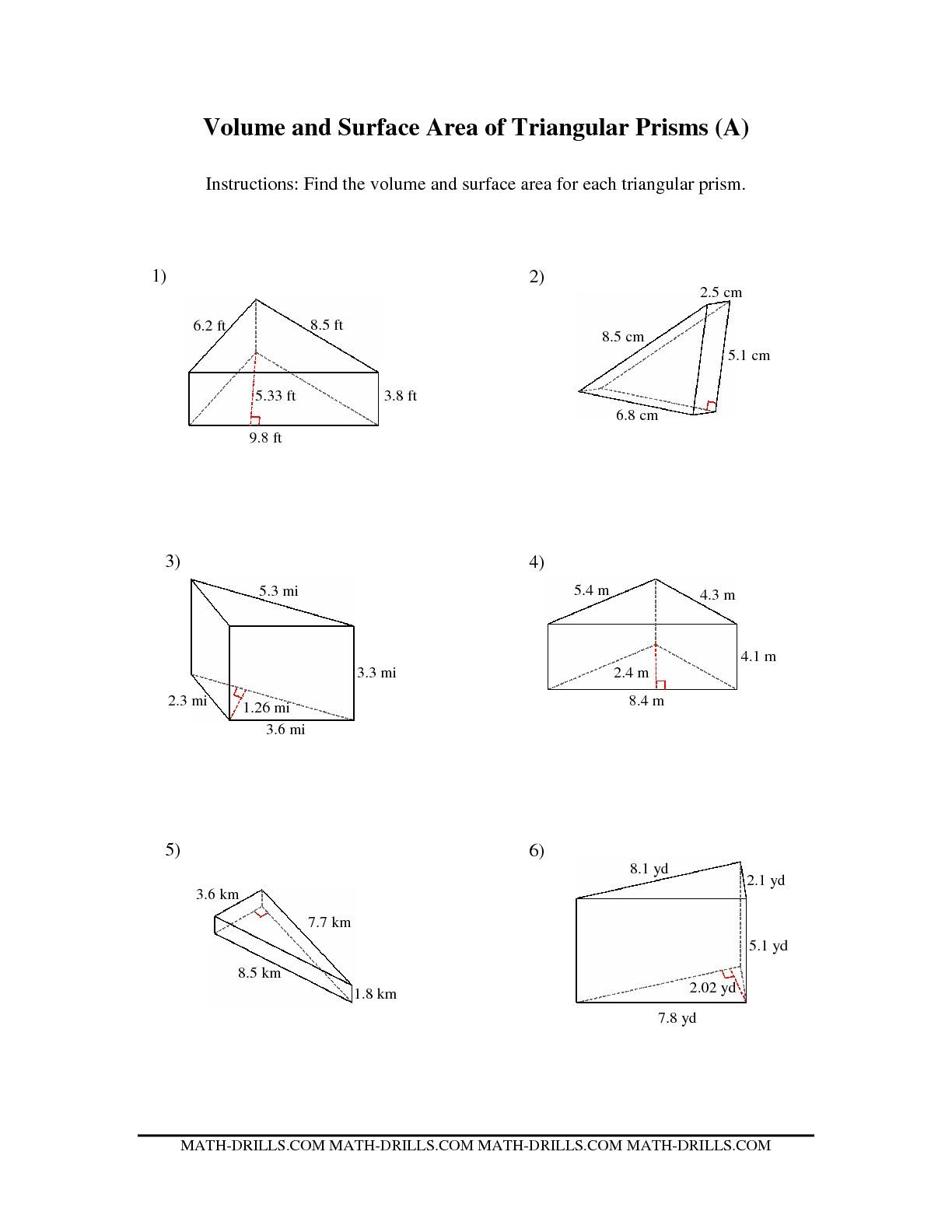 Worksheets Surface Area Worksheet the volume and surface area of triangular prisms a math worksheet from measurement page at drills com