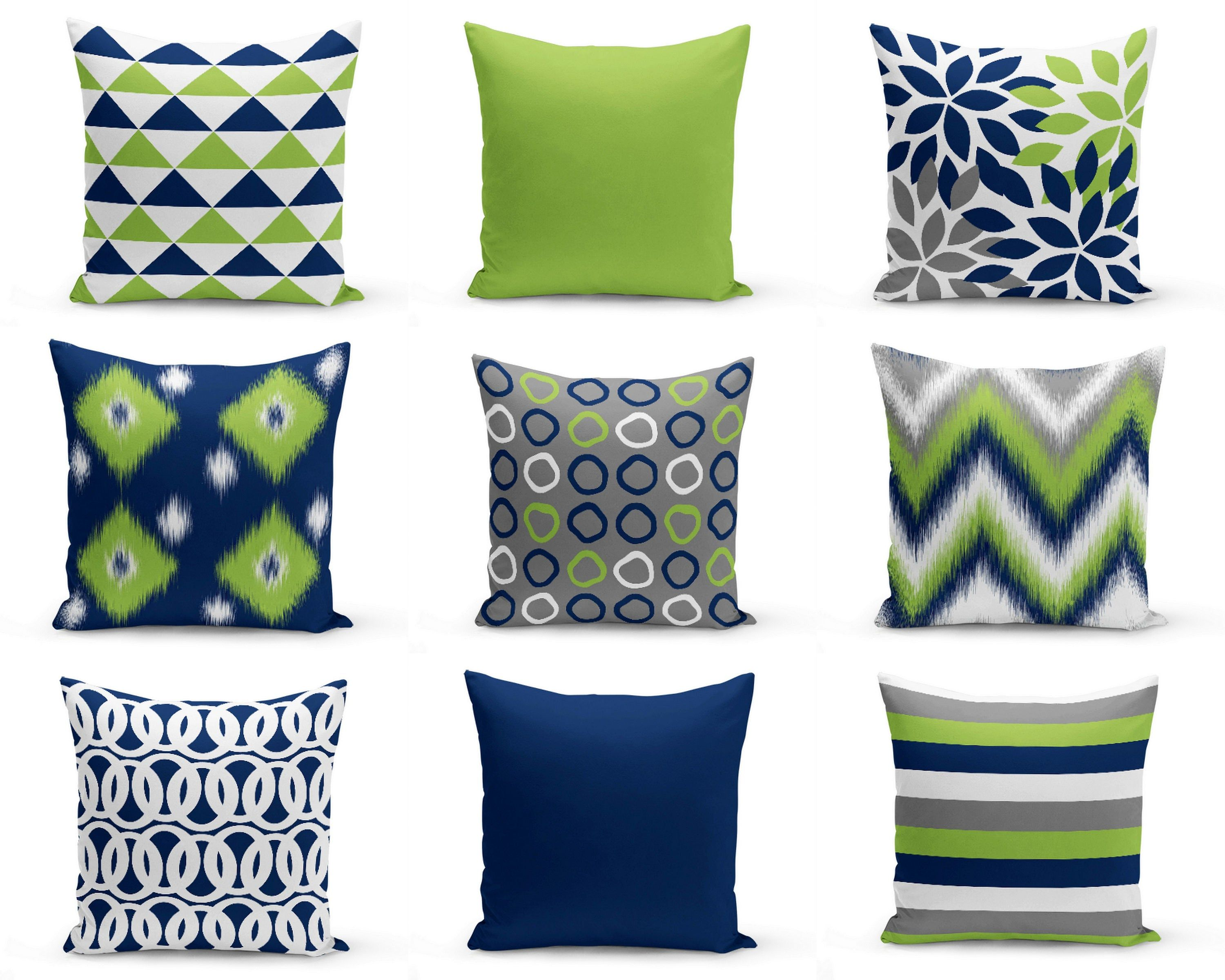 Throw Pillow Covers Green Navy White Decorative Pillow Covers