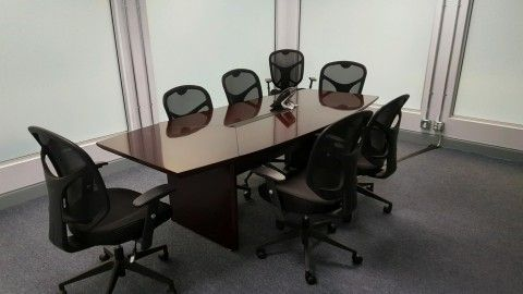 Preownedwoodveneerboatshapefootconferencetable Promotions - 8 foot office table