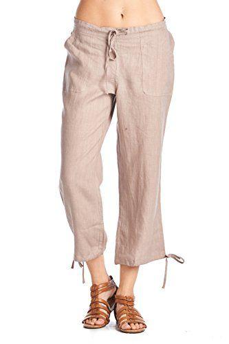 8e970db55794f7 High Style Womens Casual 100 linen capri pants with drawstring and adjustable  leg tie 1411 VintageKhaki