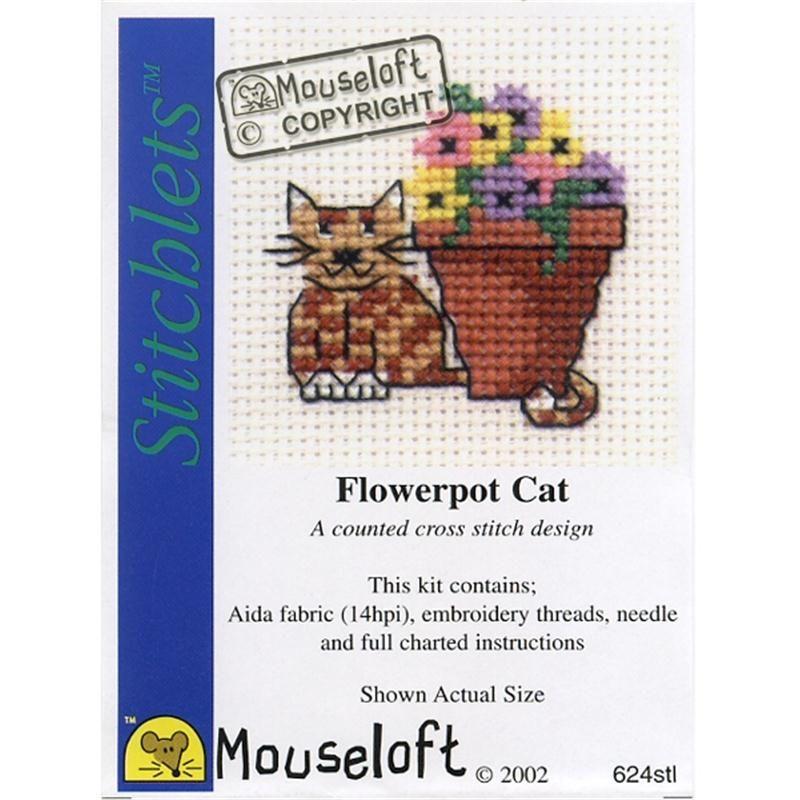 Cat at Waterpump Stitchlets Collection Mouseloft Mini Cross Stitch Kit
