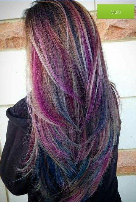 Multi Highlights Straight Hair Styles Hair Color Crazy Hair Color Purple