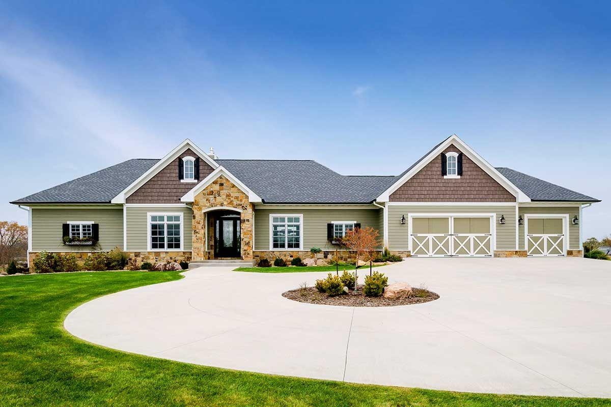 Sprawling Craftsman style Ranch House Plan on Walkout Basement
