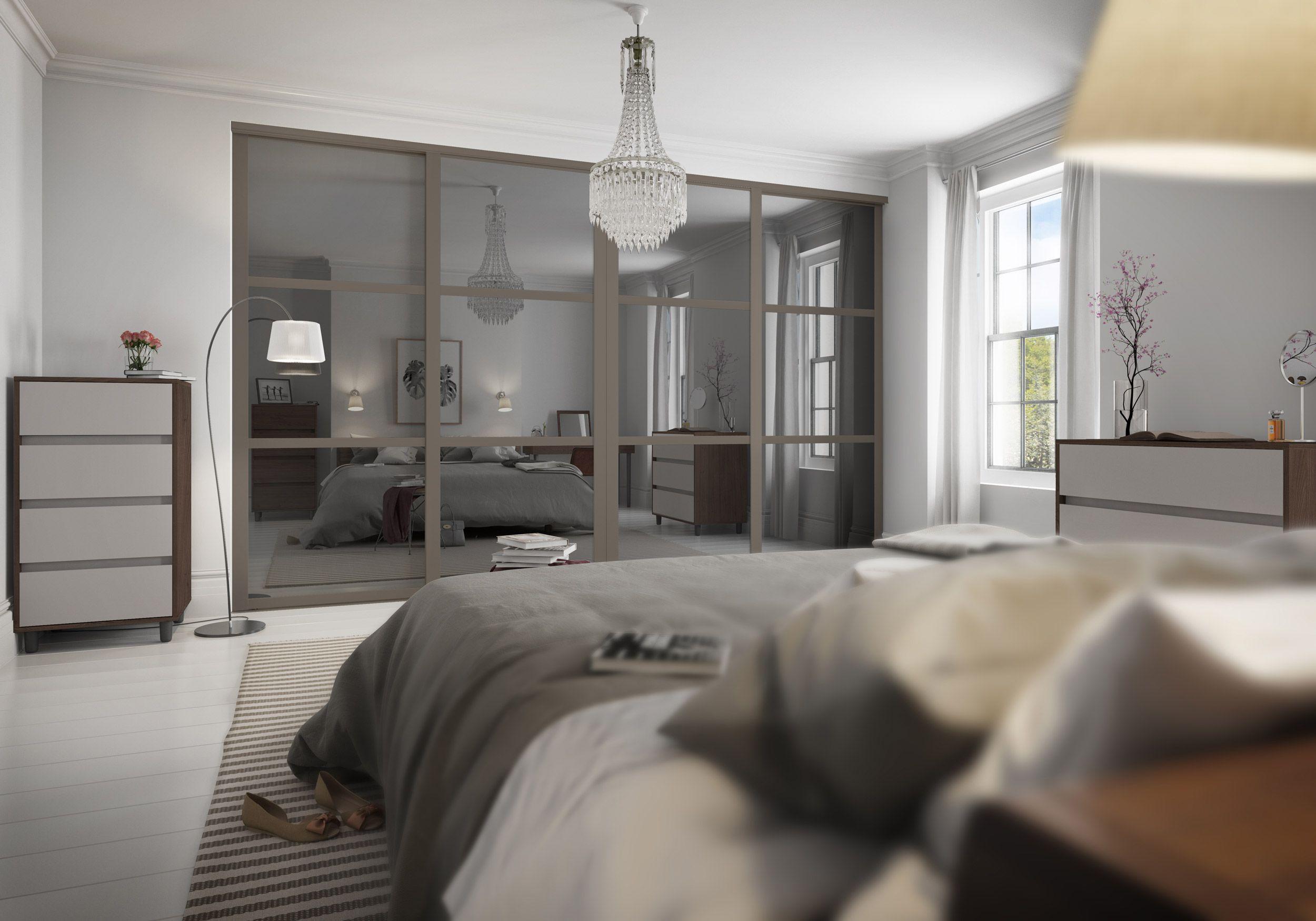 3 panel mirrored sliding closet doors - Deluxe Shaker 3 Panel Grey Mirror Doors With Stone Grey Frame Sliding Wardrobe