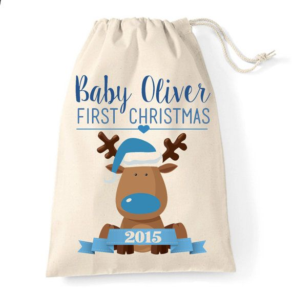 personalised baby boy first christmas christmas santa sack cute little reindeer