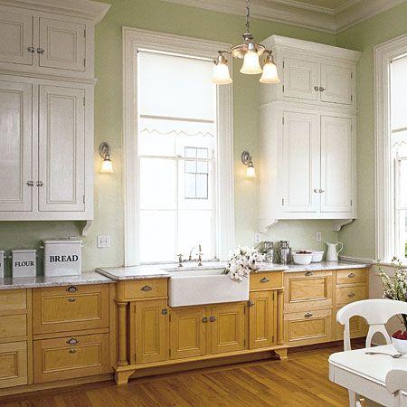 Light Upper Cabinets Dark Lower Cabinets Kitchen