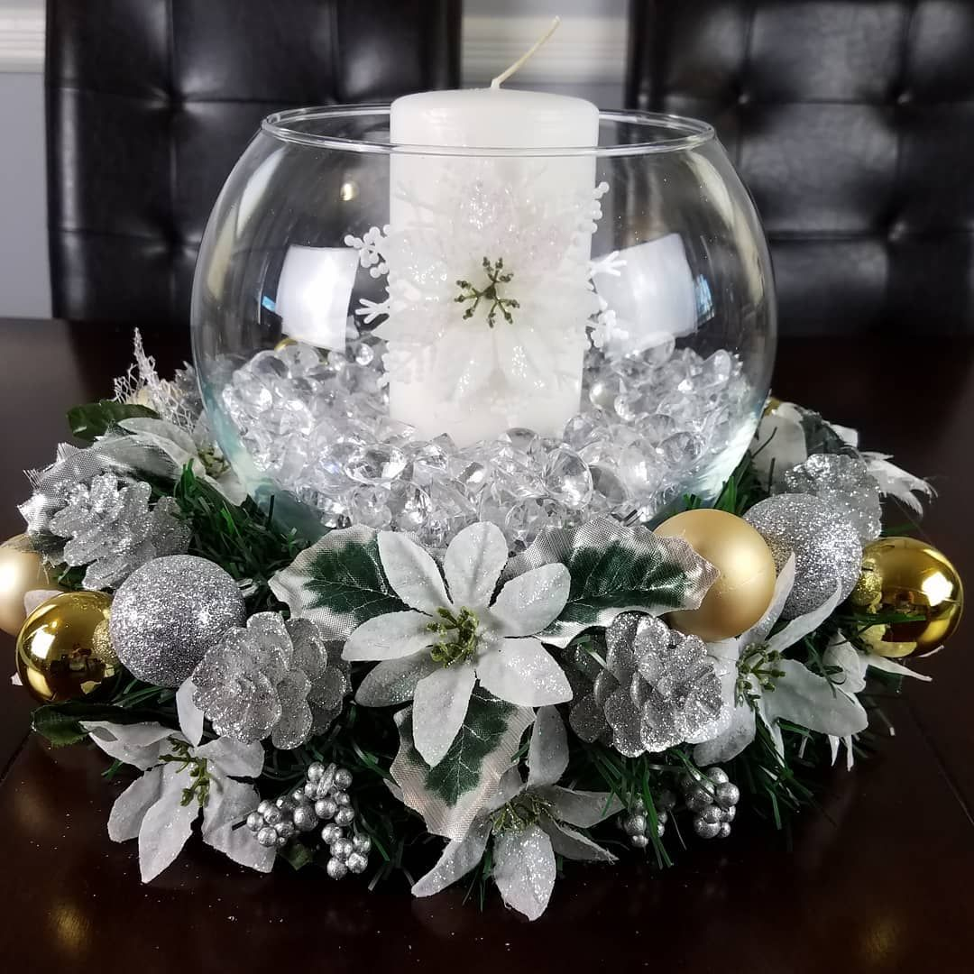DIY Christmas centerpieces made with dollar tree items