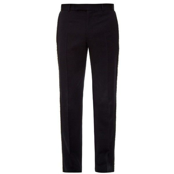 Alexander McQueen Raw-edge tailored wool trousers ($875) ❤ liked on Polyvore featuring men's fashion, men's clothing, men's pants, men's casual pants, navy, mens navy blue dress pants, mens lightweight pants, mens slim fit pants, mens striped pants and mens slim fit wool pants