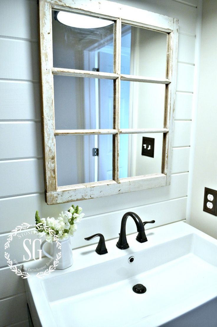 Farmhouse powder room reveal window pane mirror powder room and