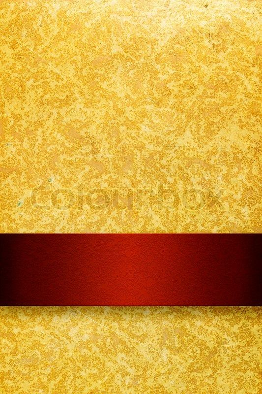 Gold Background With Rich Red Ribbon Stock Photo