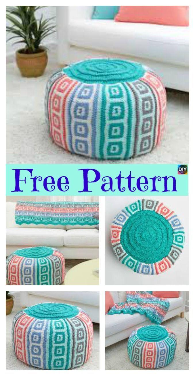 6 Beautiful Knitting Pouf Free Patterns # ...