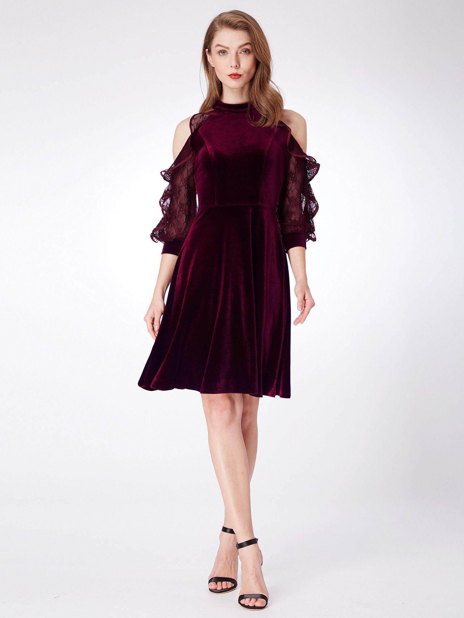 1224071dcf7 Alisa Pan Cold Shoulder Velvet Party Dress in 2019