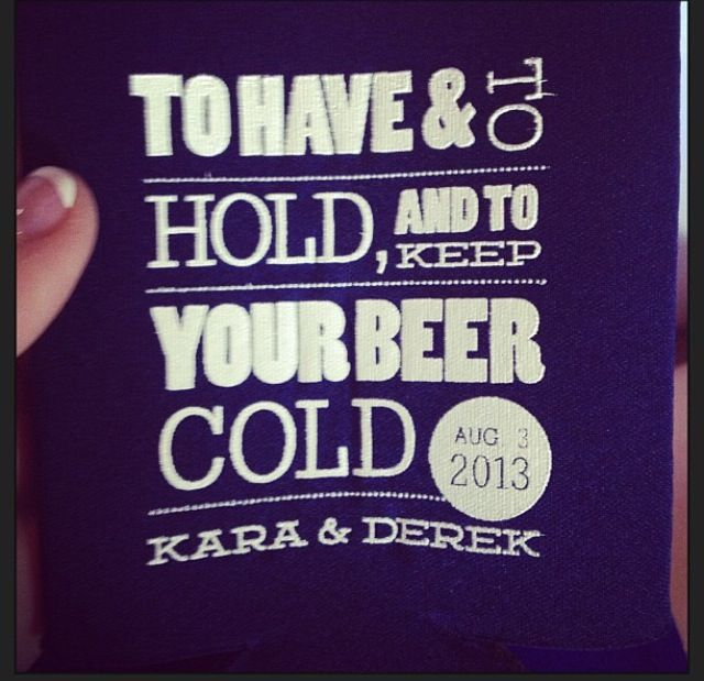 i stole this from a girl's instagram but coozies for wedding pre parties!!