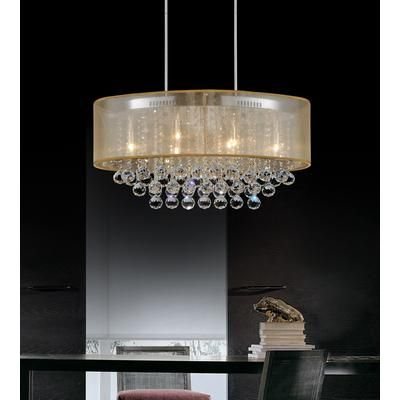 Crystal World Inc. - Oval 36 Inch Pendent Chandelier with Gold Shade - 5063P36C (Clear + G) - Home Depot Canada