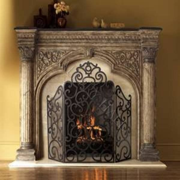 cobblestone fireplaces Fireplace Ornamented Stone Fireplace