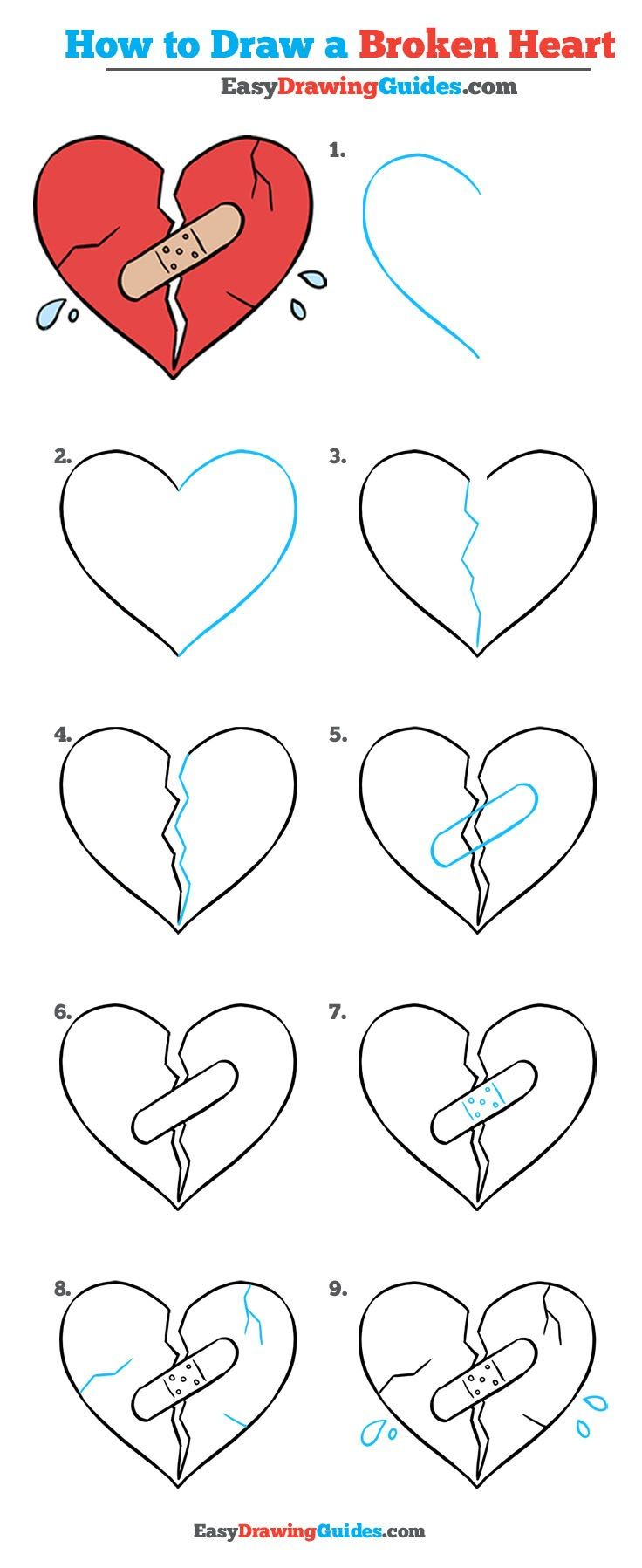 How To Draw A Broken Heart Really Easy Drawing Tutorial Bullet