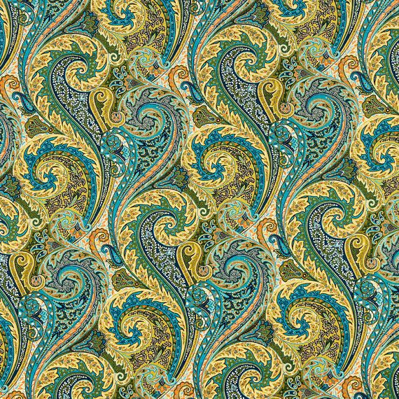 A Modern Upholstery Weight Linen Fabric In Vivid Paisley Print Of Lipstick Red Banana Ocean Blue Coral Leaf Green And White
