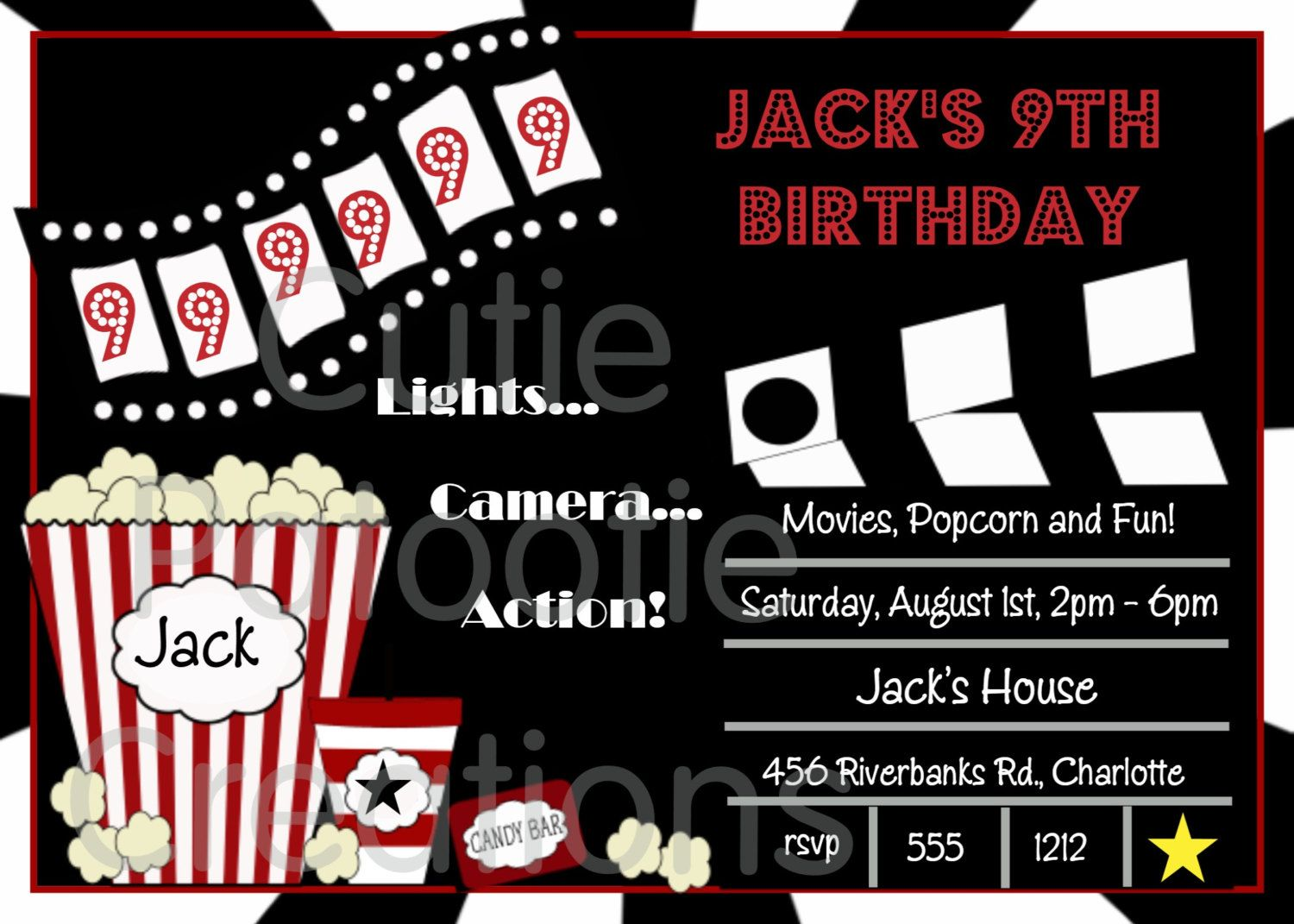 Movie Birthday Invitation, Movie Night Party Invitations, Printable Or  Printed In Movie Themed Invitation Template